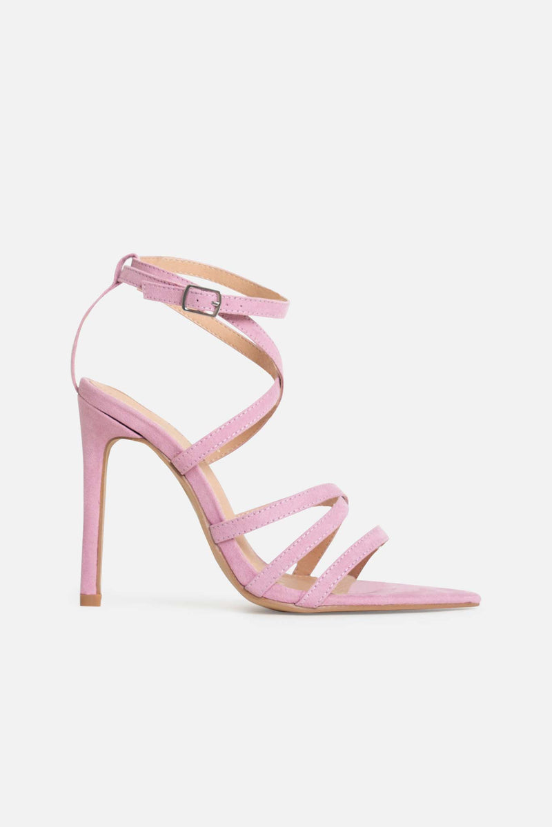 Rukaya Strappy Point Heels in Lilac Vegan Suede