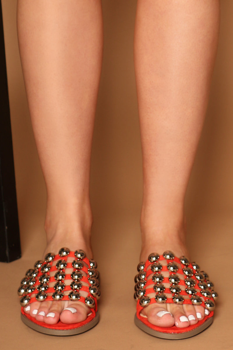 Salma Studded Slider in Red Vegan Suede