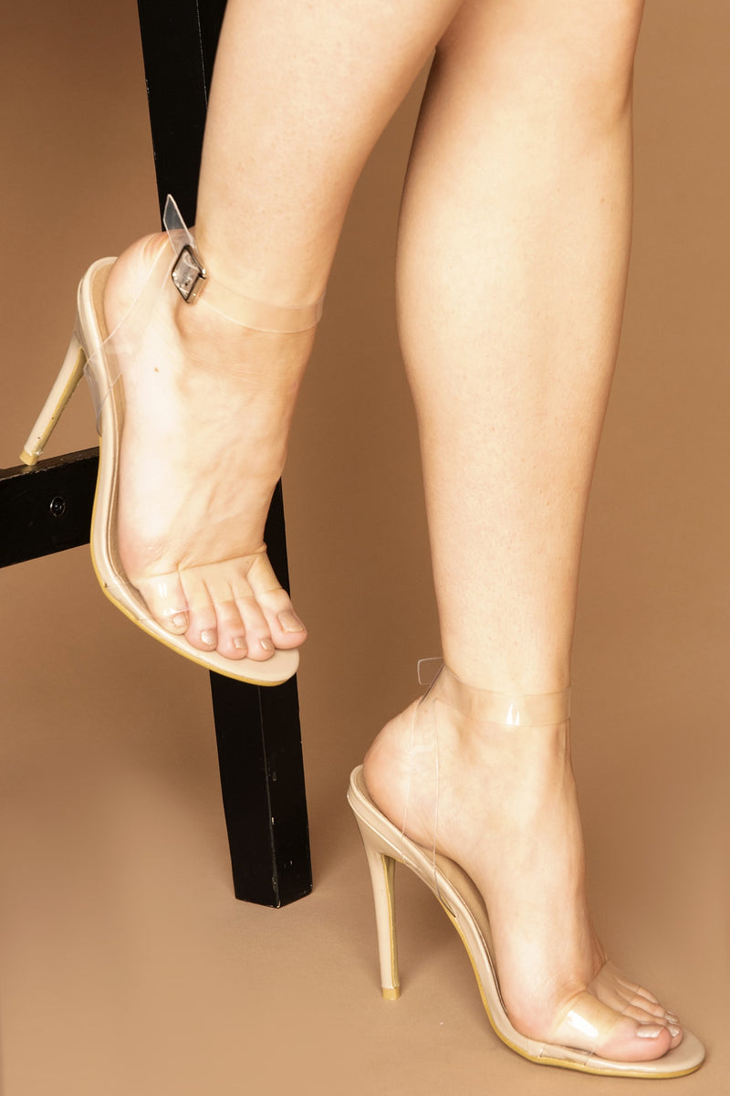 Samsara Clear Perspex Strappy Heels in Beige Vegan Leather