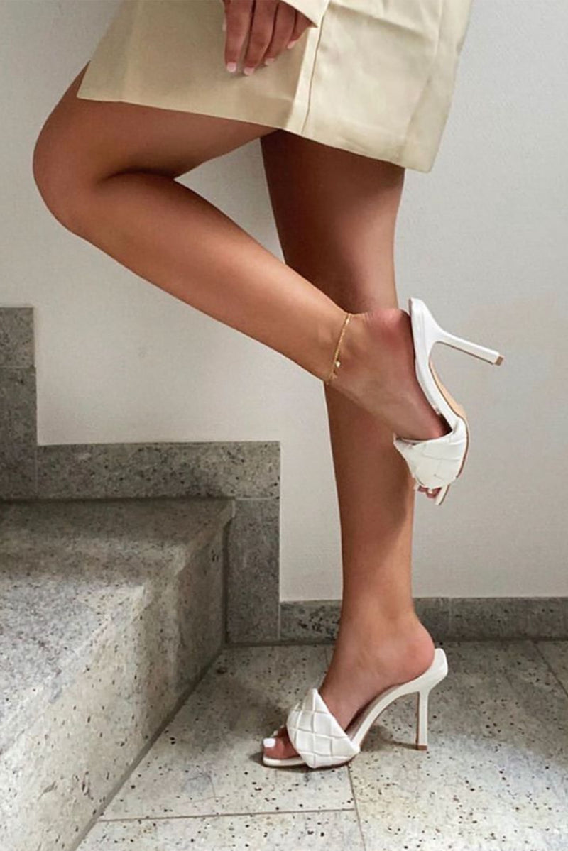Cally Woven Strap Mules in White Vegan Leather