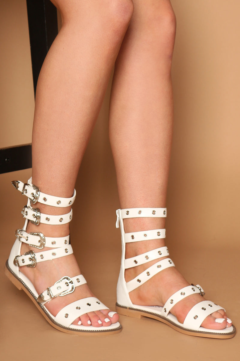 Shani Buckle Strap Sandals In White Vegan Leather