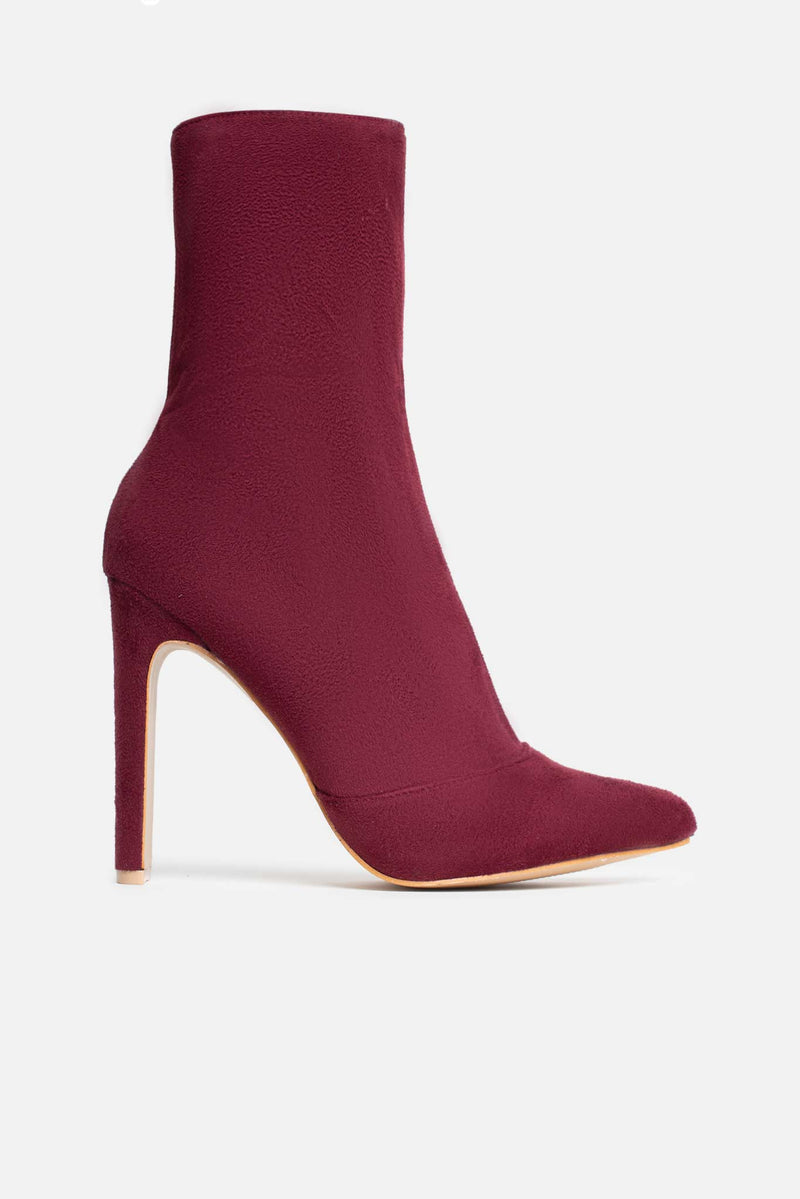 Shauna Pointed Ankle Boots in Burgundy Vegan Suede