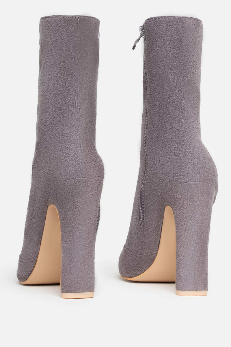 Shauna Pointed Ankle Boots in Grey Vegan Suede