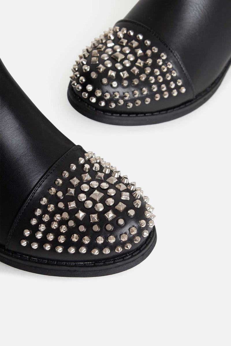 Shelby Studded Ankle Boots in Black Vegan Leather
