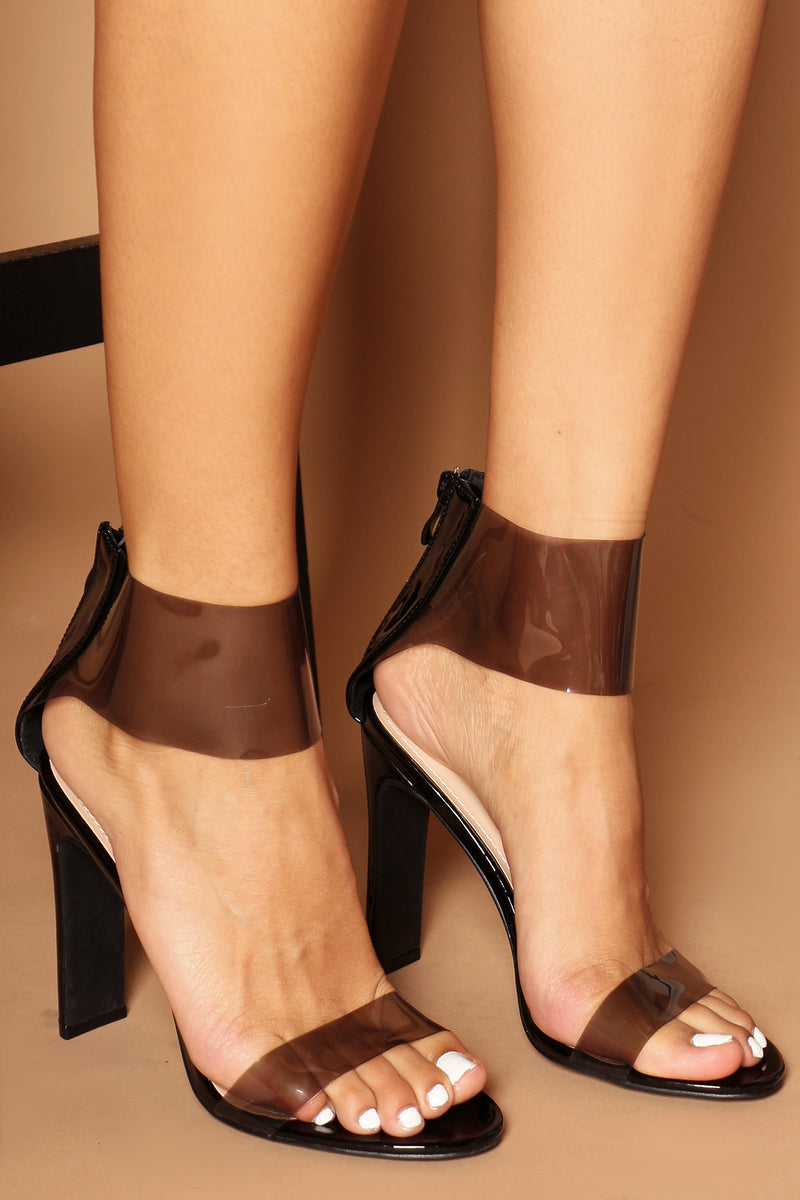 Stephanie Perspex Heels in Black Vegan Leather