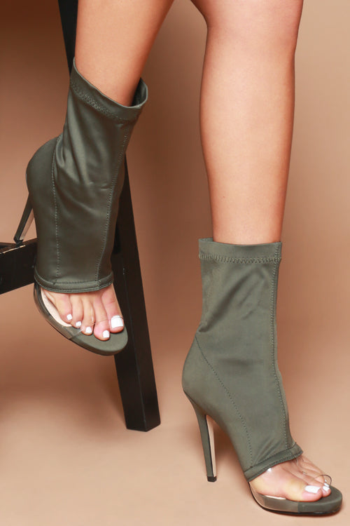 Tanya Perspex Front Sock Fit Booties in Khaki Lycra