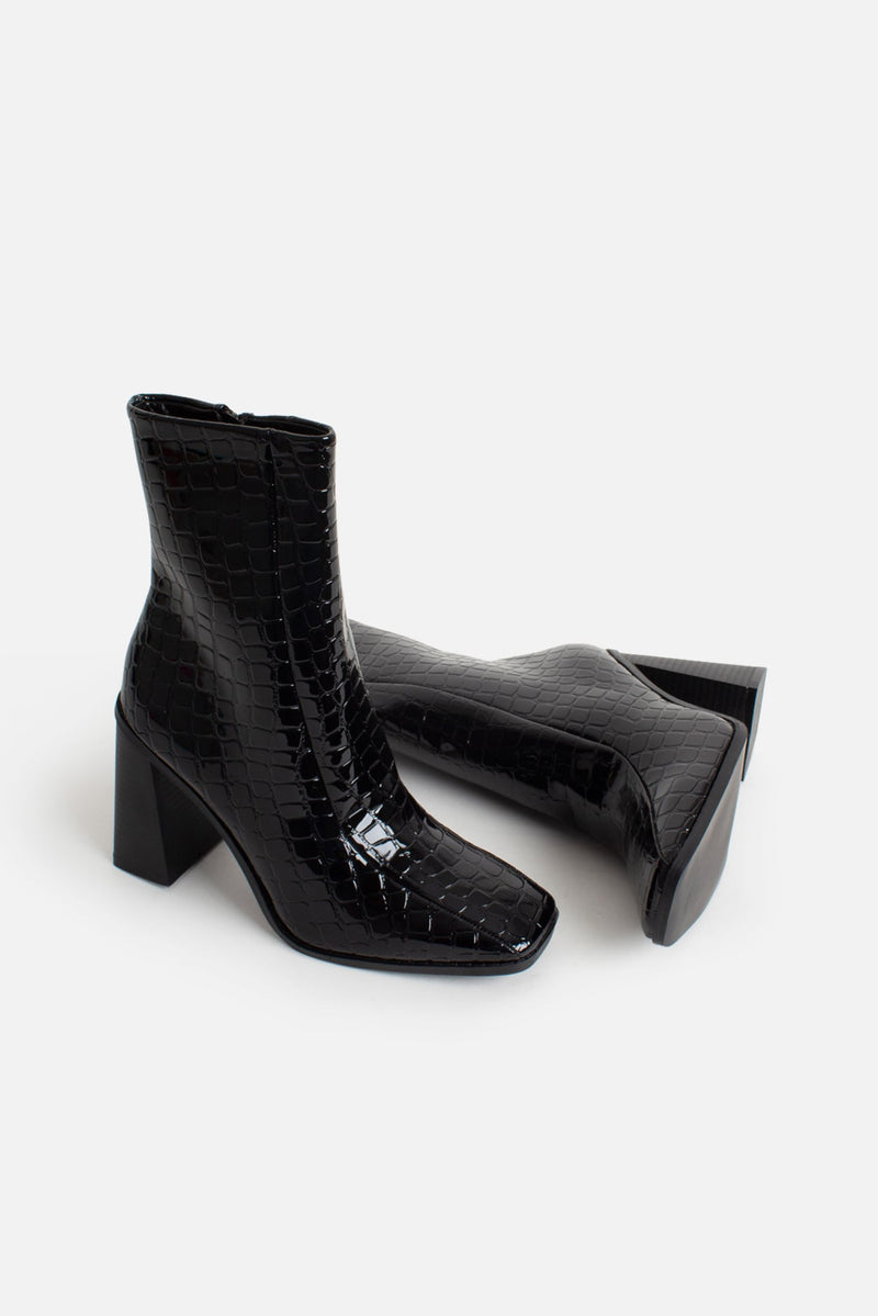 Tara Block Heeled Ankle Boots in Black Vegan Croc Leather