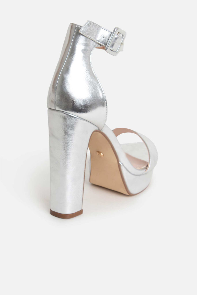 Taya Platform Buckle Heels in Silver Vegan Leather