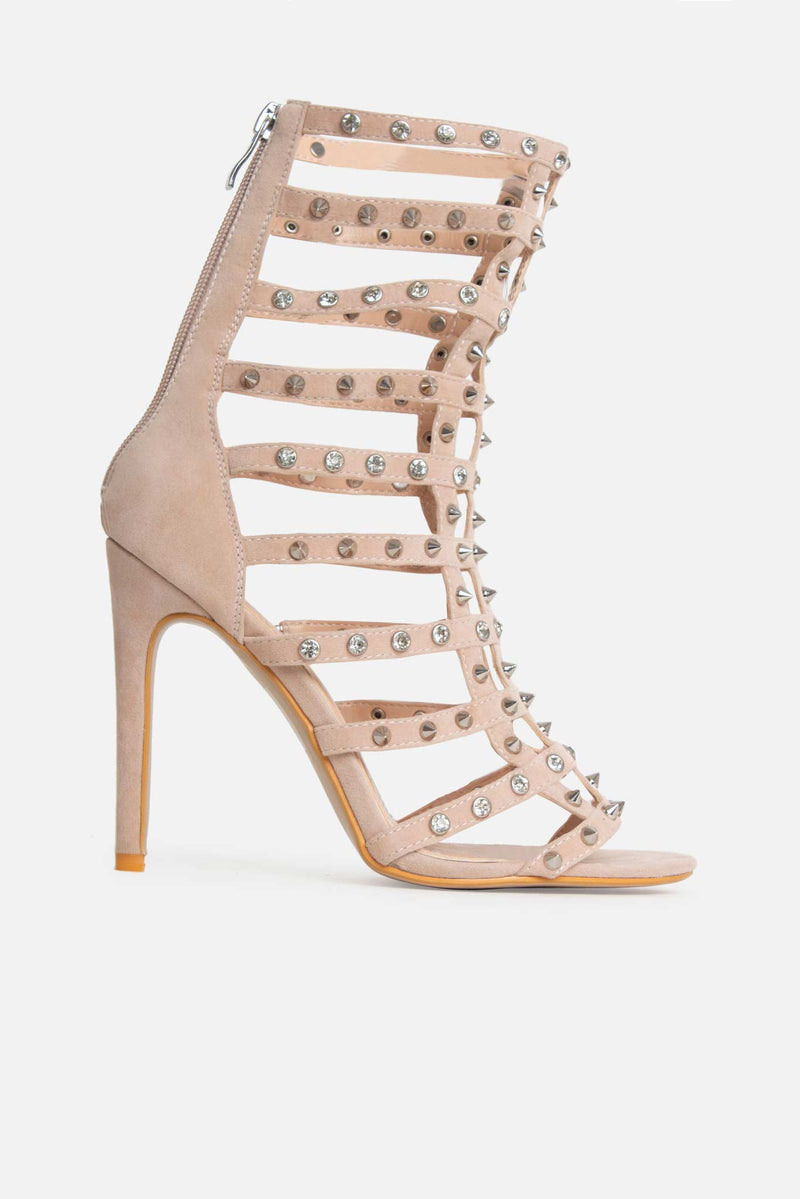 Tayla Studded Caged Heels in Nude Beige Vegan Suede