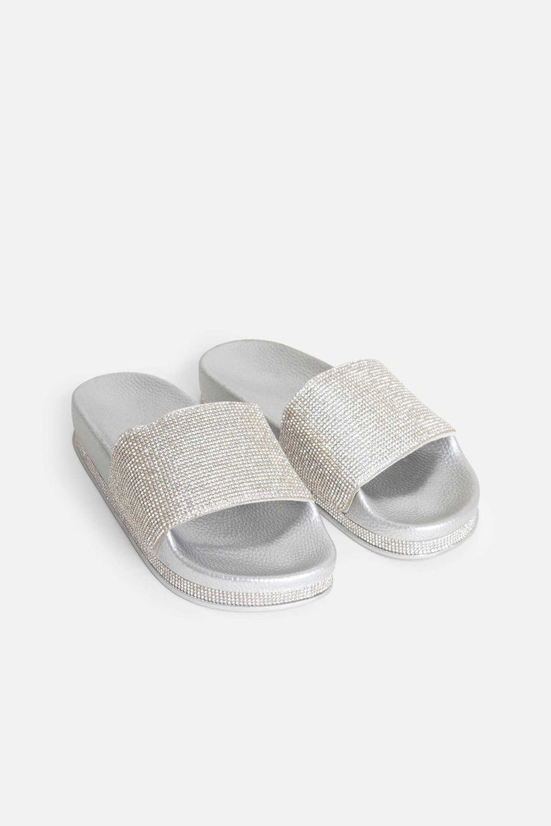 Silver Taylor Sliders with Silver Diamanté Stripe