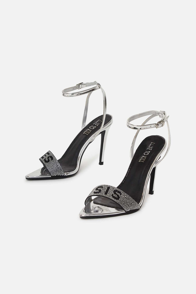 Tenny YES SIS Diamante Strap Heels in Silver Vegan Leather