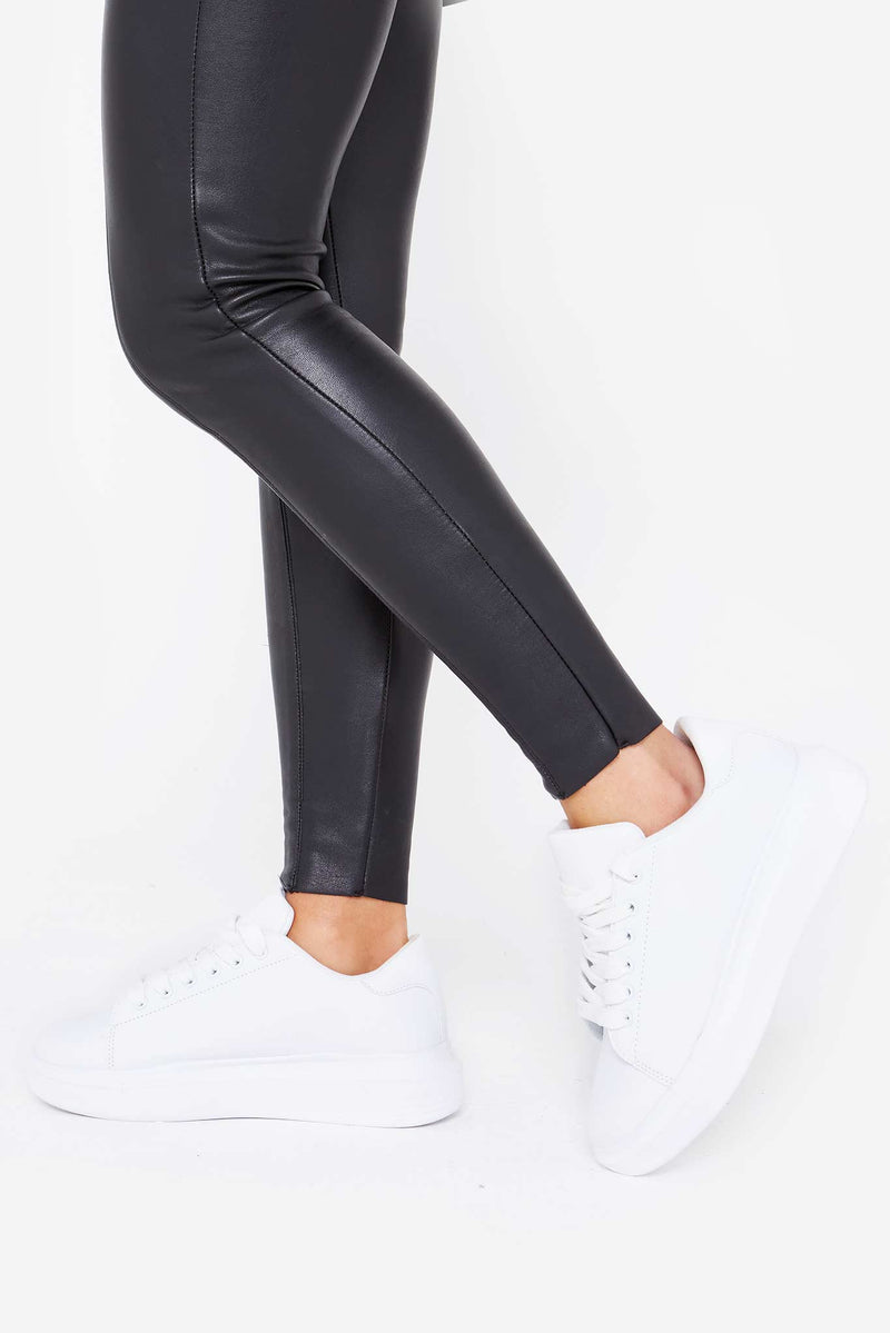 Avery Platform Lace Up Trainers in White Vegan Leather