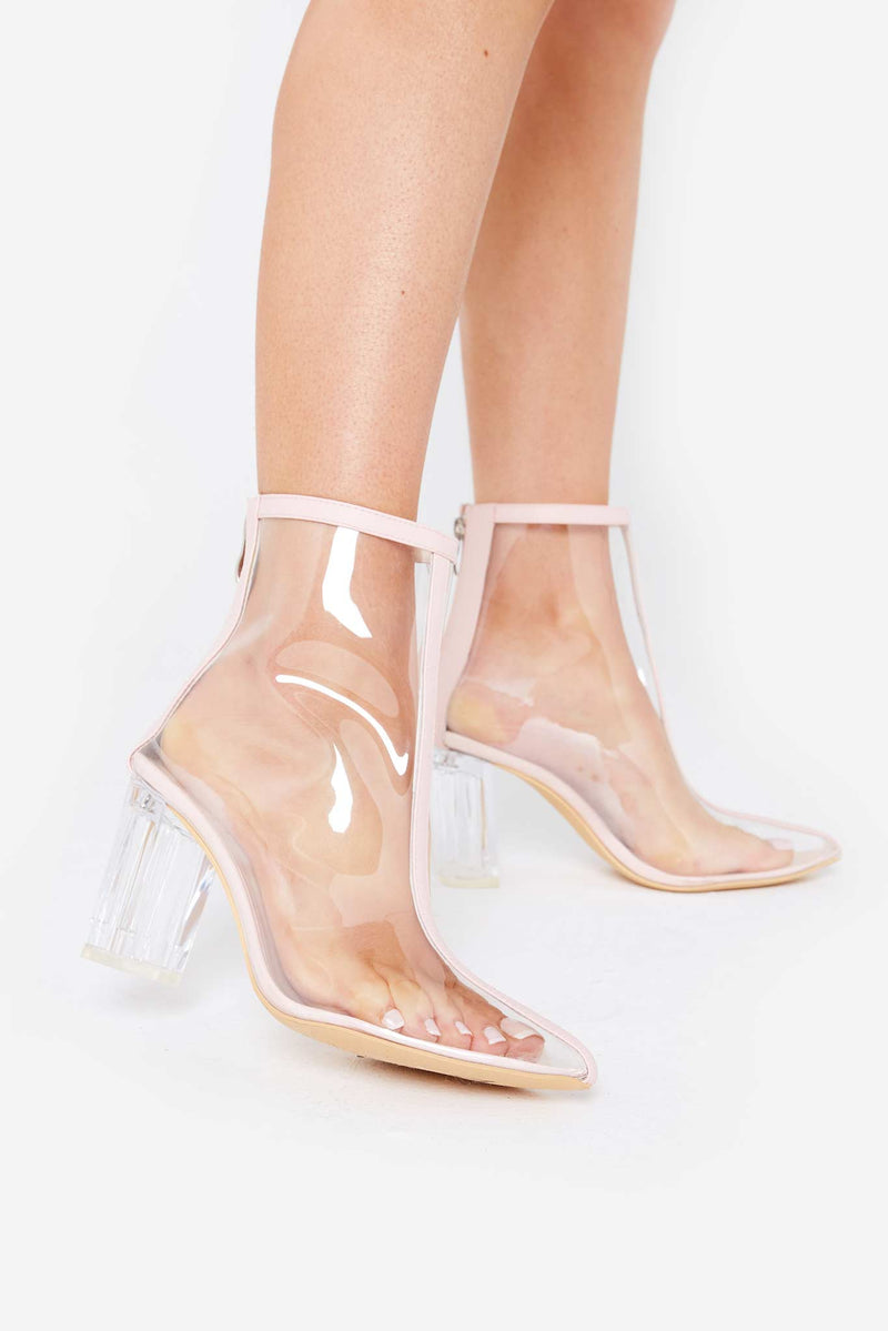 Paige Perspex Boots in Nude Vegan Leather