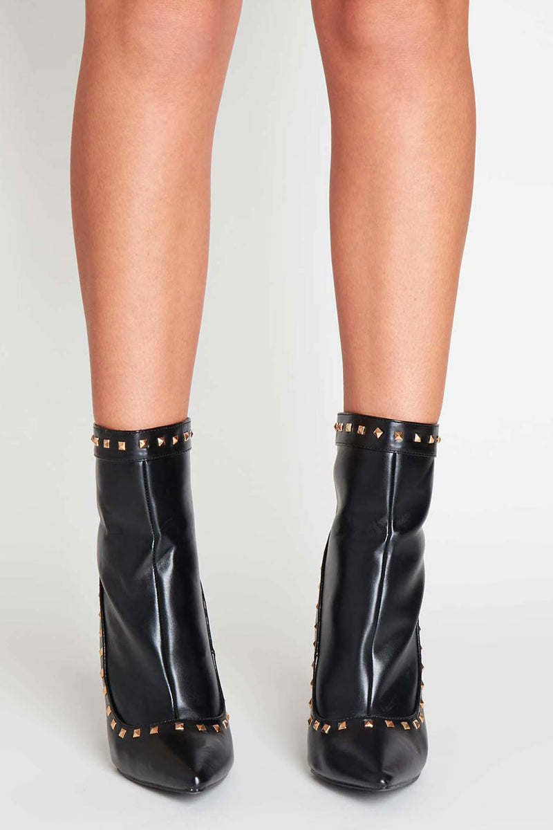 Amra Studded Ankle Boots in Black Vegan Leather