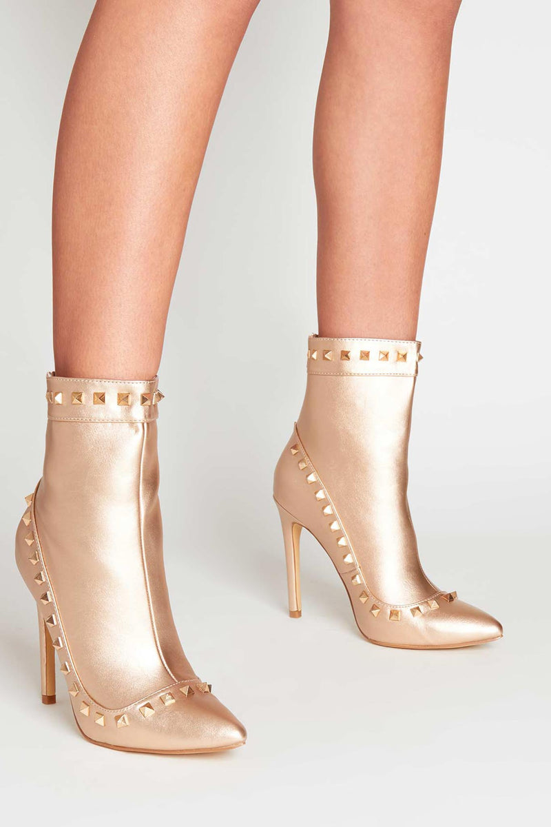 Amra Studded Ankle Boots in Rose Gold Vegan Leather