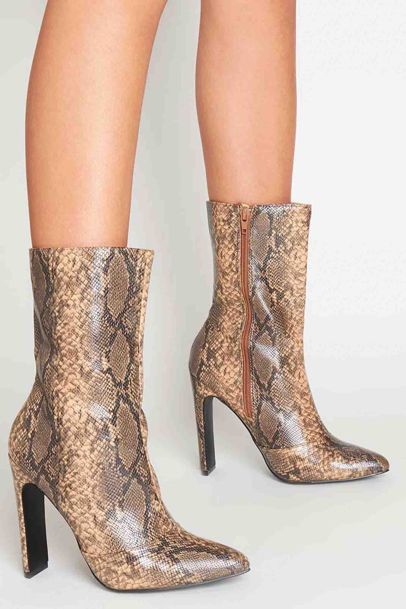Shauna Pointed Ankle Boots in Beige Multi Vegan Snake
