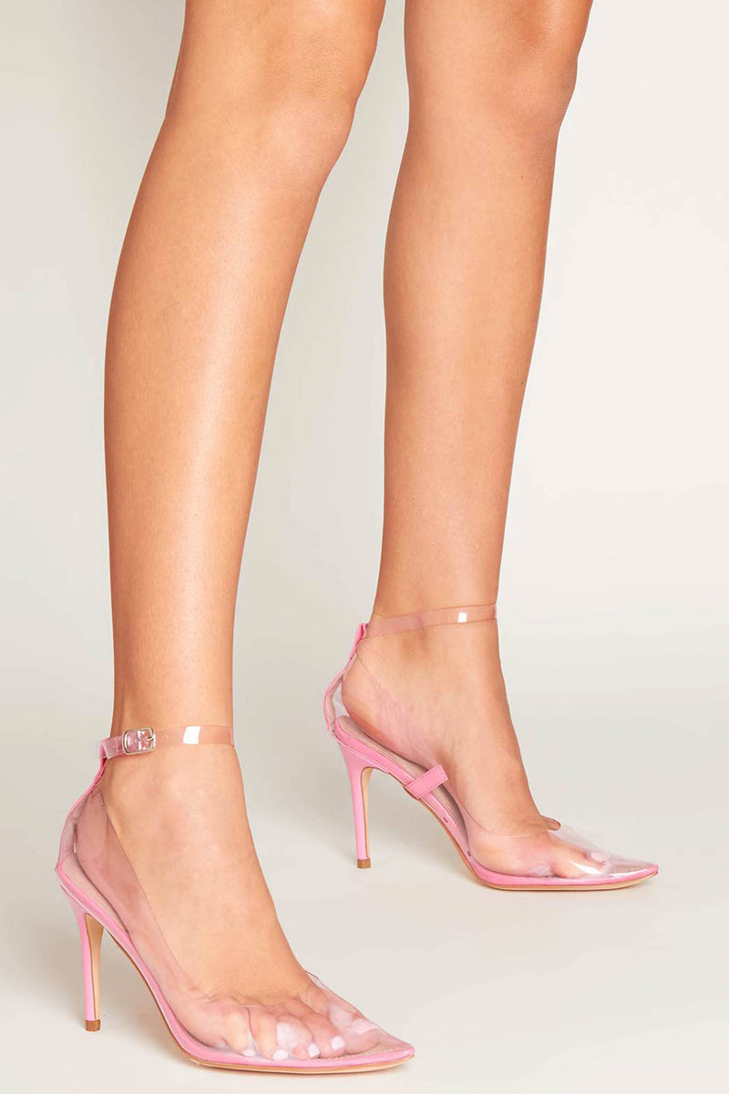 Clelia Strappy Pumps in Baby Pink Perspex