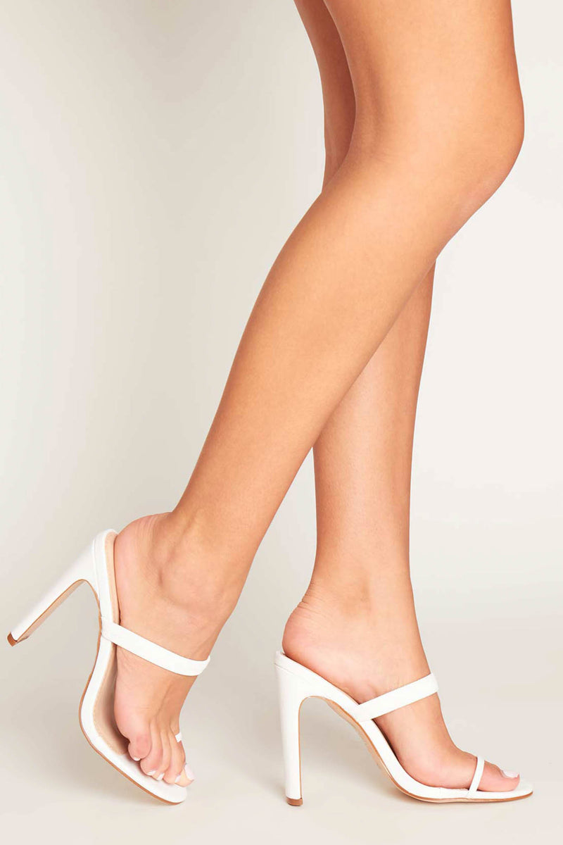 Sara Toe Ring Mules in White Vegan Leather