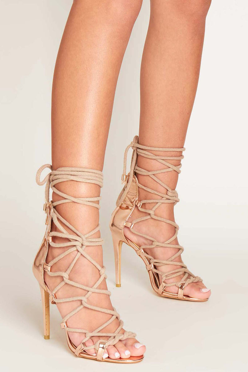 Skylar Rope Lace Up Heels in Rose Gold Vegan Leather