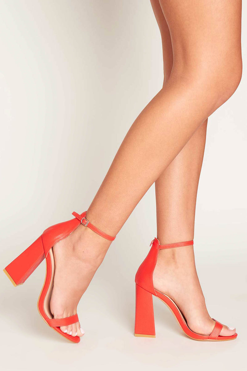 Jesse Block Heels in Red Vegan Leather