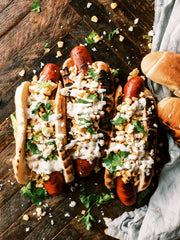 Grilled Andouille Sausage Hot Dogs with Elote Topping