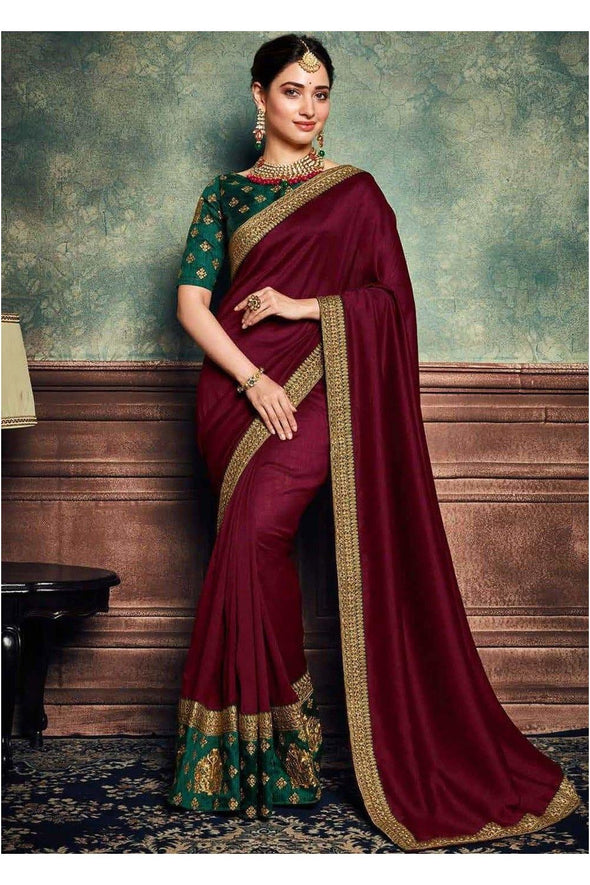 Tamannah Bhatia Rangoli Silk Maroon & Green Color Party Wear Saree with Zari Blouse.