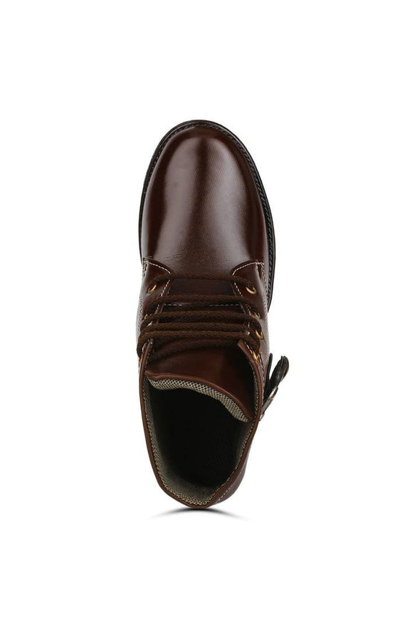 Brown Heeled Synthetic Leather Boots For Men - Meghvi