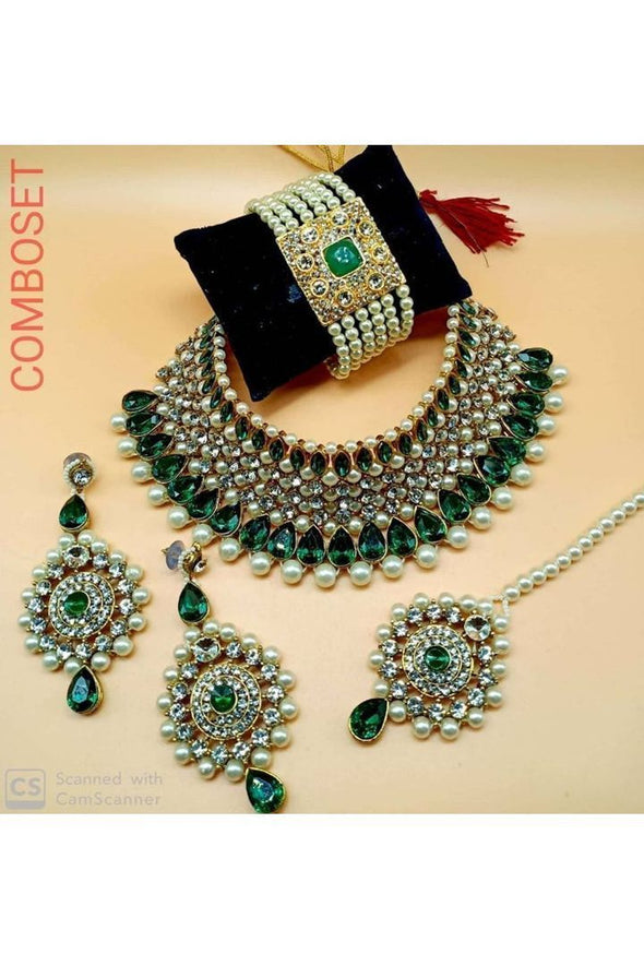 Pearl Crystal Kundan Choker Necklace Set With Bracelet.