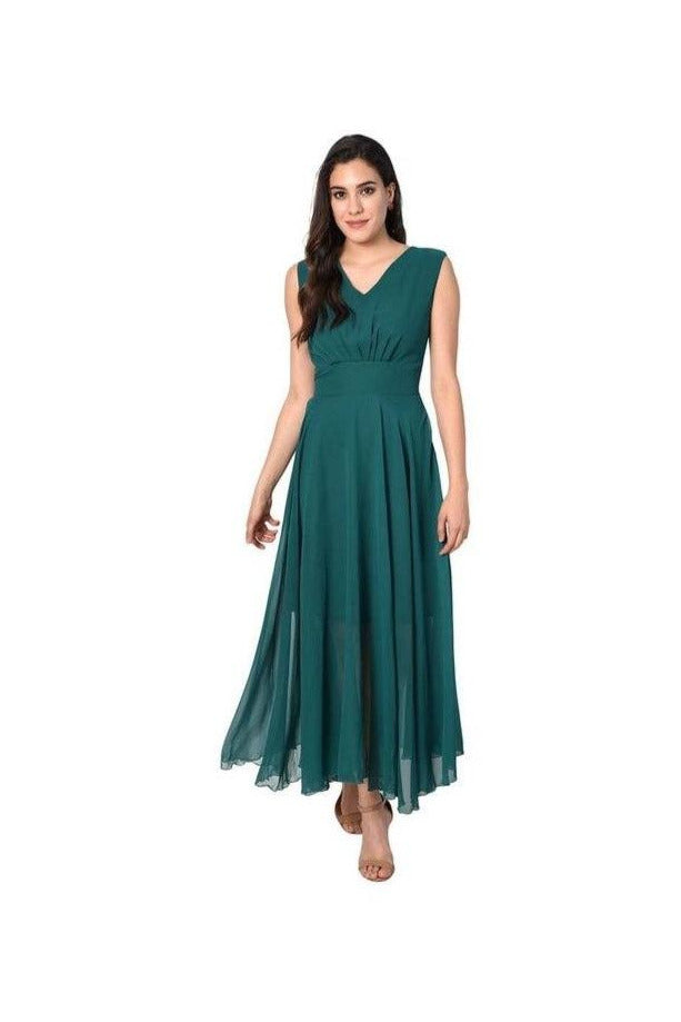 Green V-Neck Solid Long Maxi Dress - Meghvi