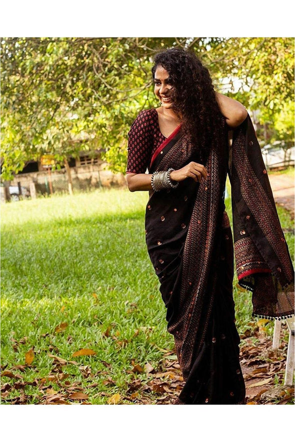 Plain Weave Jute Silk Saree with Mirror work and Printed Blouse