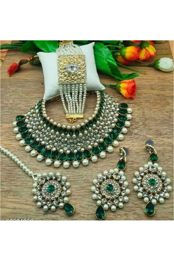Pearl Crystal Kundan Choker Necklace Set With Bracelet