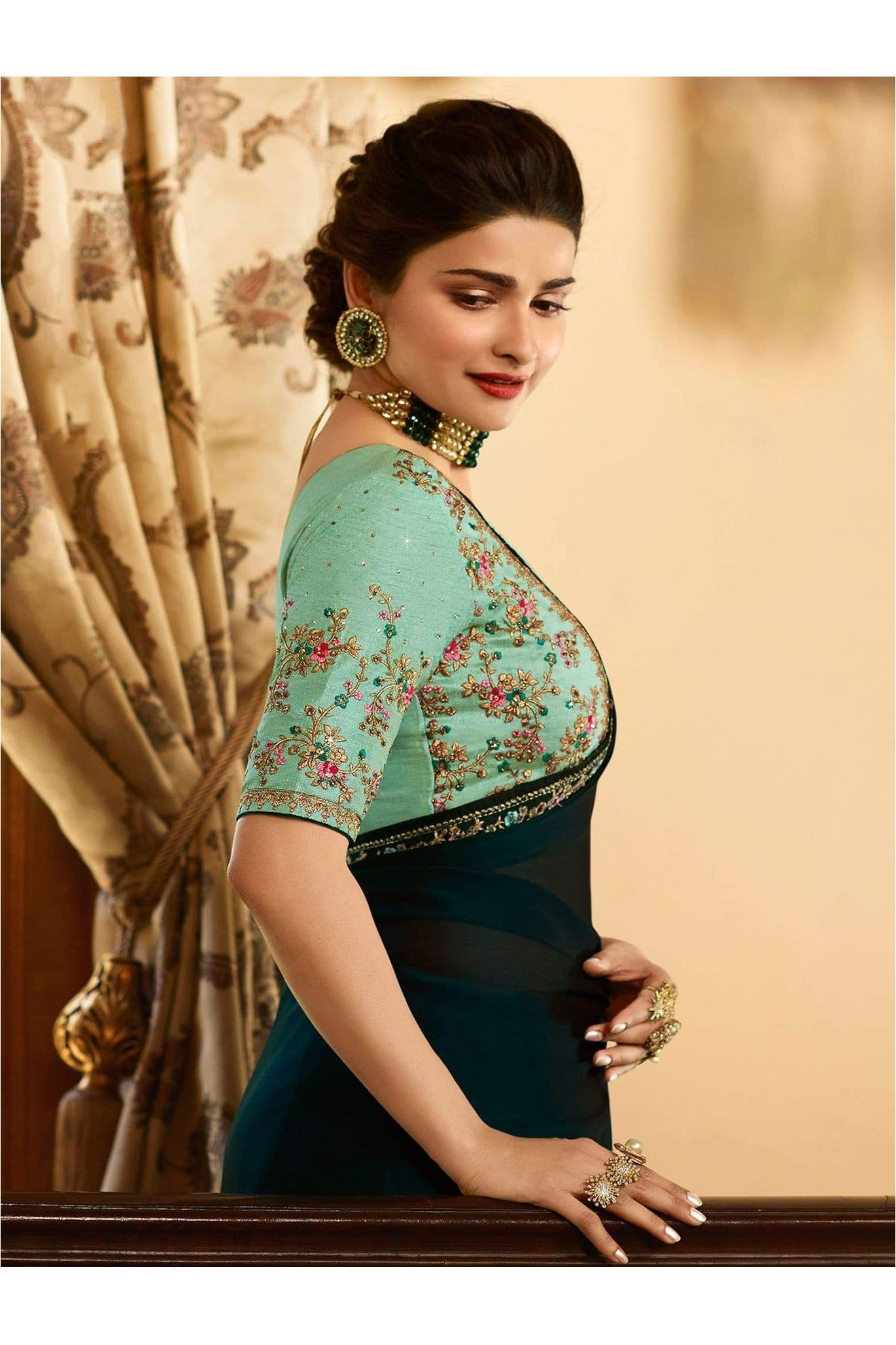 Prachi Desai Dark Green Vichitra Silk Plain Saree with Floral Embroidered Lace - Meghvi