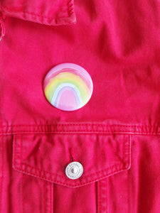 Rainbow 58mm Pink Button Pin Badge