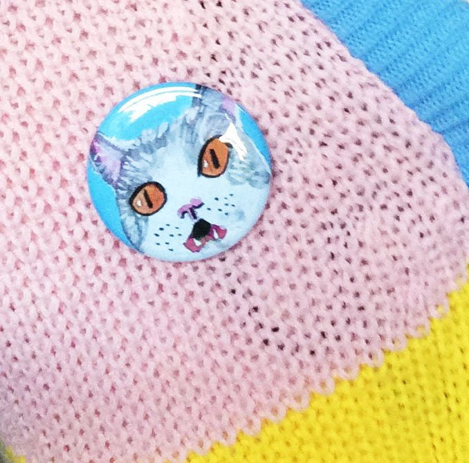 Grey Cat 58mm Pinback Button Badge