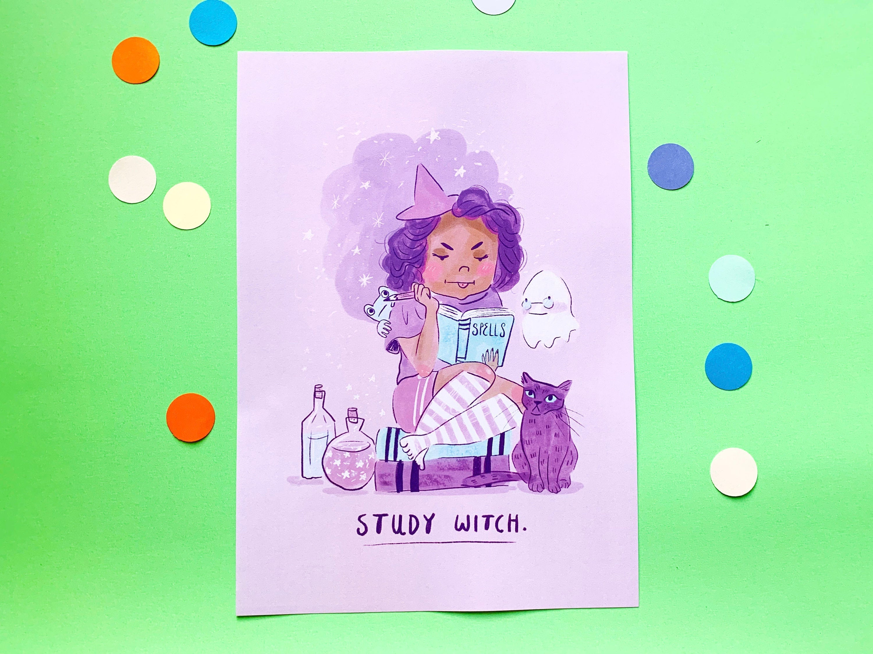 Study Witch A4 Pastel Wall Art Print