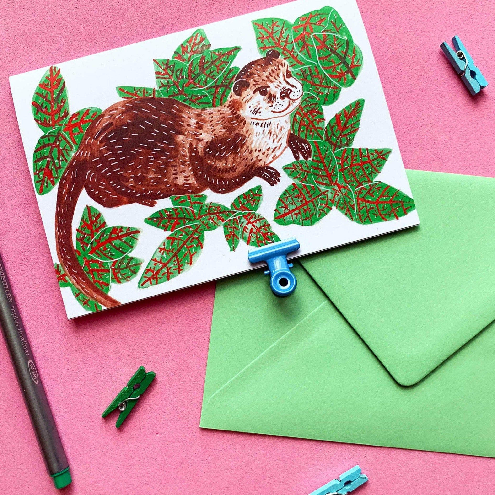 Otter Floral Recycled A6 Greeting Card