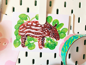 Tapir and Money Plant A6 Recycled Greeting Card