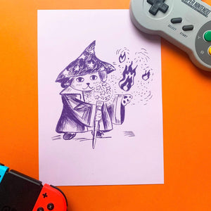 A5 print with purple paper and purple riso ink. It features an illustration of a cute wizard dog. He's wearing a star print hat, a robe. He's holding a staff and casting a fire spell with his left paw.