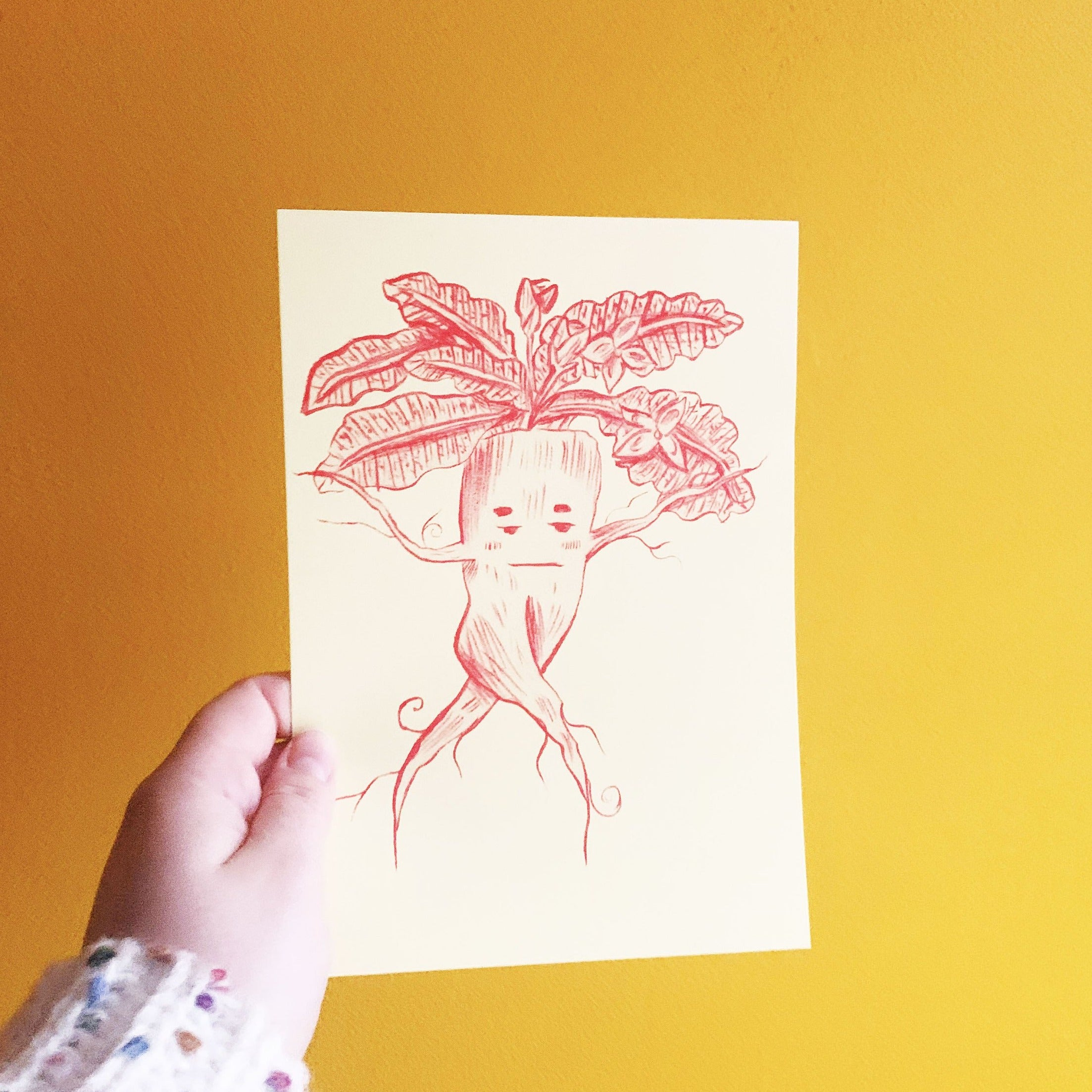 Mandrake Fantasy Inspired A5 Red & Yellow Risograph Print