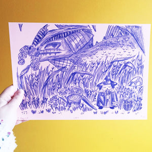 Image of an A4 risograph print. It depicts a pencil and ink fantasy illustration depicting a dragon creeping up behind the bushes, where a cute wizard dog wearing a robe and pointed hat is foraging for herbs. Printed with blue riso ink onto pink paper