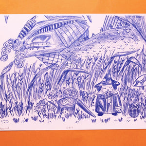 Image of an A4 risograph print. It depicts a pencil and ink fantasy illustration depicting a dragon creeping up behind the bushes, where a cute wizard dog wearing a robe and pointed hat is foraging for herbs. Printed with blue riso ink onto pink paper.