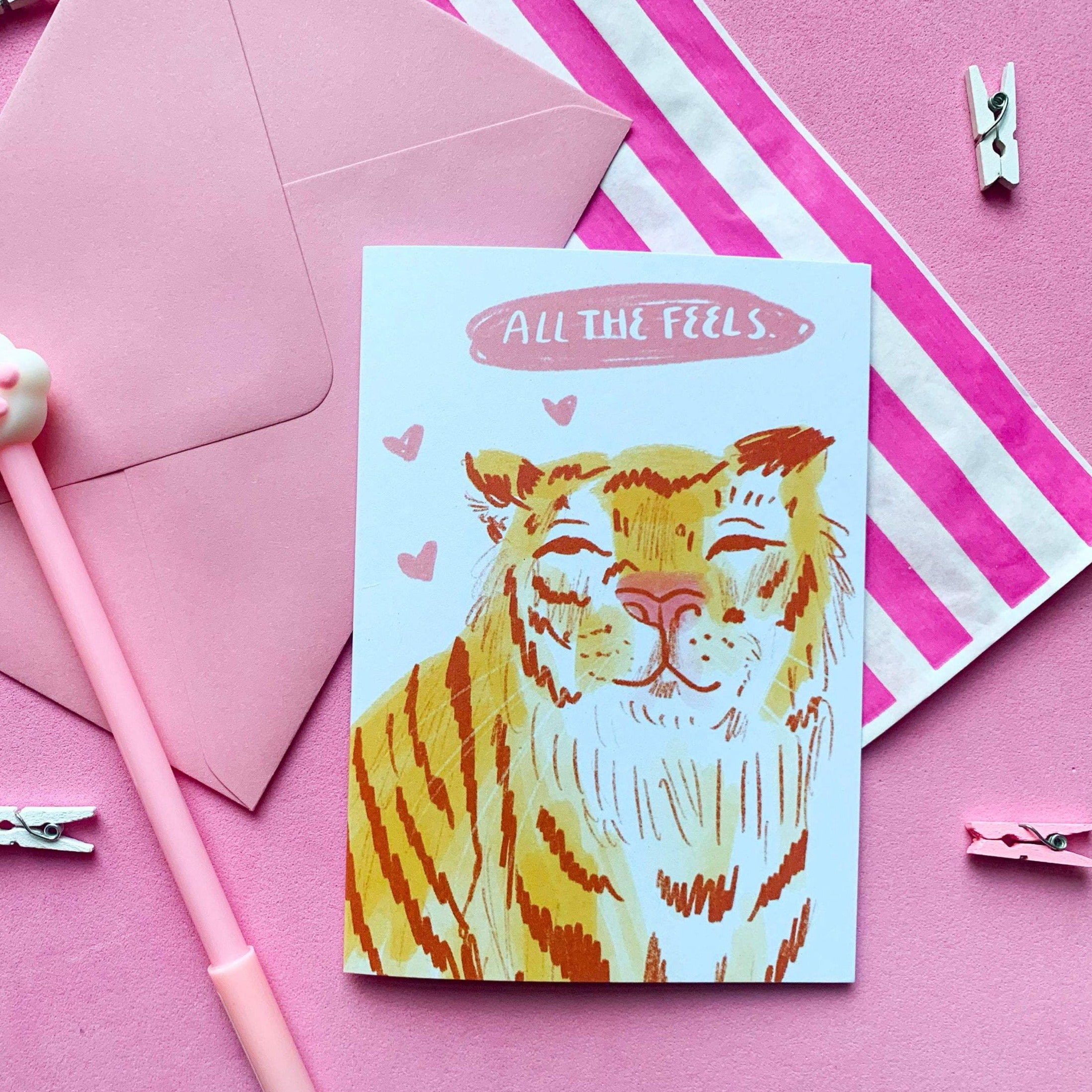 All The Feels Tiger A6 Recycled Greeting Card