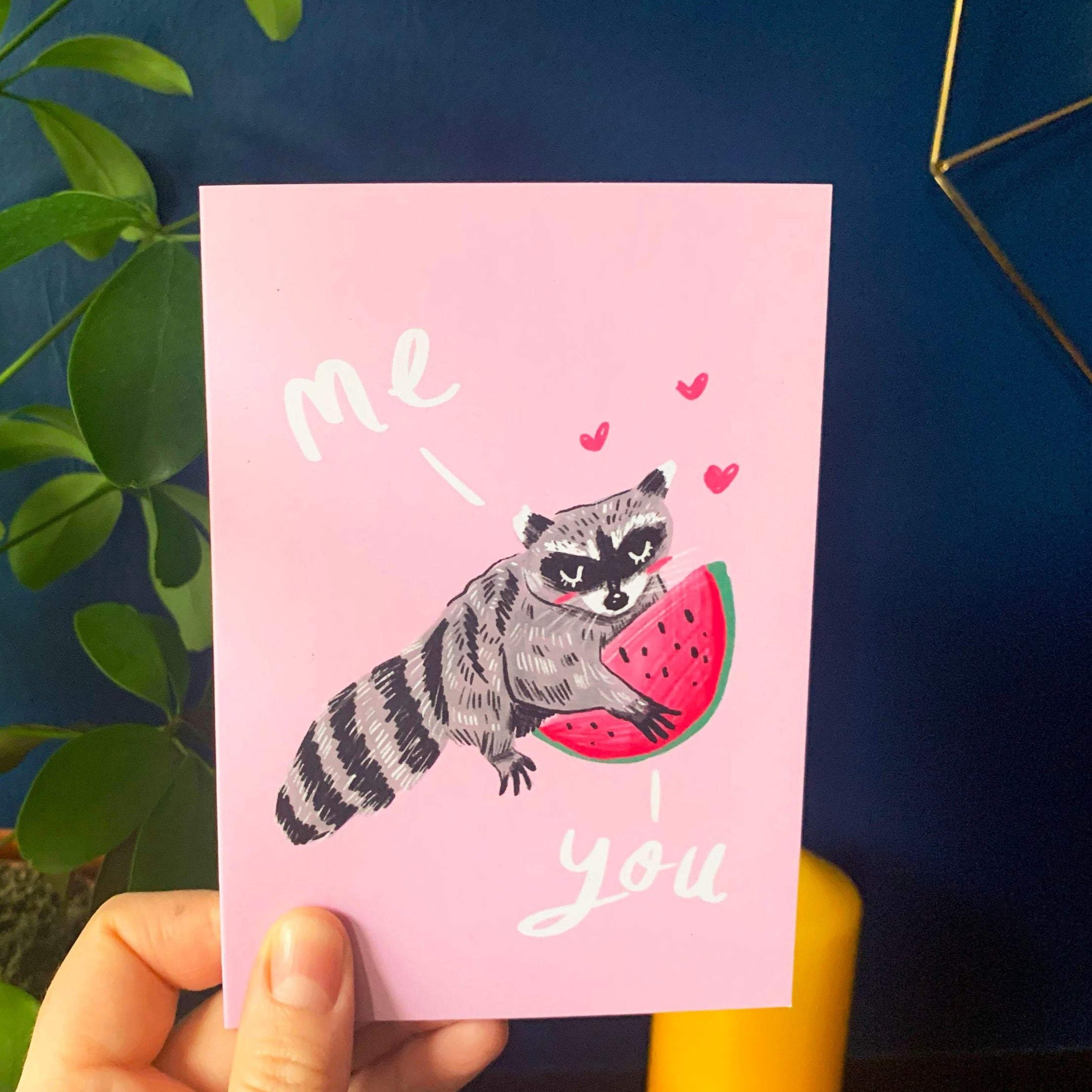 Raccoon Watermelon A6 Recycled Greeting Card