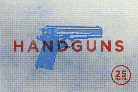 Vintage Handgun Vector Illustrations