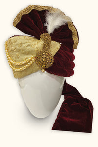 Popin Maroon Velvet And Off White Embroidered Dulha Safa/Feta/Turban With Heavy Broach