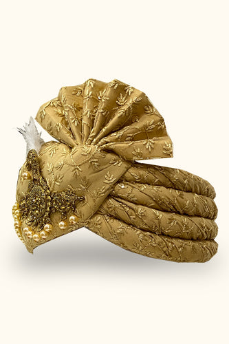 Gold Embroidered Dulha Safa/Feta/Turban With Heavy Broach
