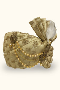 Popin Gold Embroidered Dulha Safa/Feta/Turban With Heavy Broach