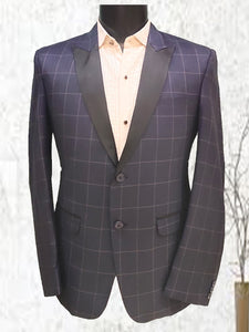 BLUE CHECKS WITH BLACK COLLER ONLY BLAZER