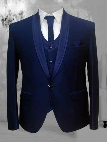BLUE FORMAL TUXEDO SUIT WITH VEST COAT