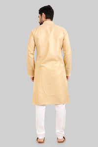 Men's Ethnic Long Kurta Pyjama Set Long with Full Sleeves and Stand Collar